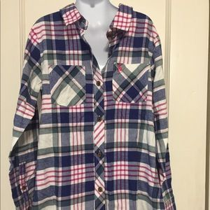 5 for $25 Joules Navy/Pink/White Plaid Long Sleeve